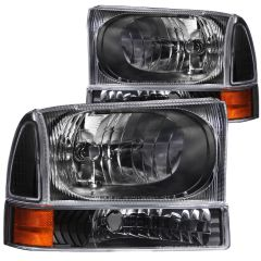 FORD EXCURSION 00-04 / SUPERDUTY 99-04 CRYSTAL HEADLIGHTS BLACK w/ CORNER LIGHTS 2PC