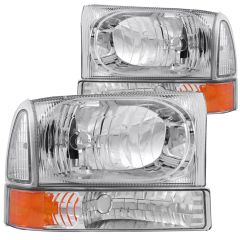 FORD EXCURSION 00-04 / SUPERDUTY 99-04 CRYSTAL HEADLIGHTS CHROME w/ CORNER LIGHTS 2PC