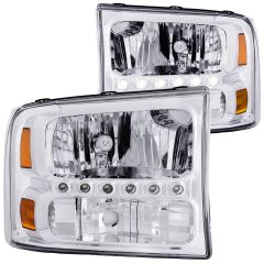FORD EXCURSION 00-04 / SUPERDUTY 99-04 CRYSTAL HEADLIGHTS CHROME L.E.D 1 PC