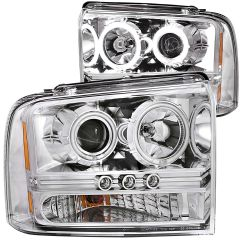 FORD F-250/350/450/550 SUPERDUTY 05-07 / EXCURSION 2005 L.E.D PROJECTOR HEADLIGHTS CHROME CLEAR (CCFL) 1PC