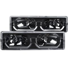 CHEVY/GMC C/K1500/2500 88-98 / C/K3500 88-00 / SUBURBAN 92-99 / BLAZER (full-size) 92-94 / TAHOE 95-99 / YUKON 92-99 CRYSTAL HEADLIGHTS w/ LOW-BROW BLACK