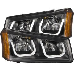 CHEVY SILVERADO / AVALANCHE 03-06 CRYSTAL HEADLIGHTS U-BAR BLACK CLEAR