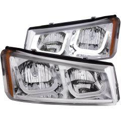 CHEVY SILVERADO / AVALANCHE 03-06 CRYSTAL HEADLIGHTS U-BAR CHROME
