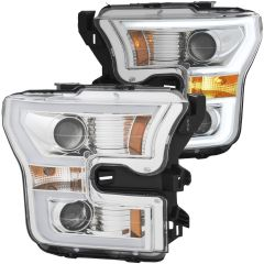FORD F-150 15 -17 PROJECTOR PLANK STYLE H.L. CHROME CLEAR AMBER