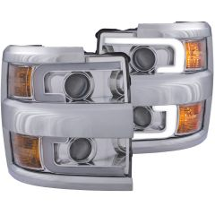 CHEVY SILVERADO 2500HD,3500HD 15-19  PROJECTOR  PLANK STYLE H.L. CHROME CLEAR AMBER