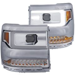 CHEVY SILVERADO 1500 16-18 PROJECTOR PLANK STYLE  HEADLIGHT CHROME AMBER