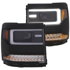CHEVY SILVERADO 1500 16-18 PROJECTOR HEADLIGHTS W/ PLANK STYLE BLACK W/ AMBER SEQUENTIAL TURN SIGNAL