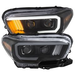 TOYOTA TACOMA '16-19 PROJECTOR PLANK STYLE HEADLIGHT BLACK W/ AMBER (W/ LED DRL)