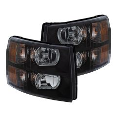 CHEVY SILVERADO 07-13 CRYSTAL HEADLIGHT BLACK AMBER