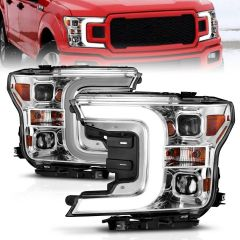 2018-2020 FORD F-150 PROJECTOR LIGHT BAR STYLE HEADLIGHTS SWITCHBACK CHROME AMBER