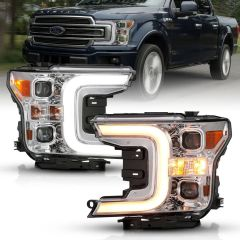 FORD F-150 18-20 LED PROJECTOR PLANK STYLE SWITCHBACK H.L. CHROME AMBER