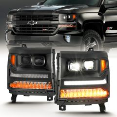 CHEVY SILVERADO 1500 16-18 LED PROJECTOR PLANK STYLE HEADLIGHTS BLACK AMBER