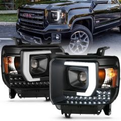 GMC SIERRA 1500 14-15 / 2500HD/3500HD 15-16 PROJECTOR PLANK STYLE HEADLIGHT BLACK W/ DRL