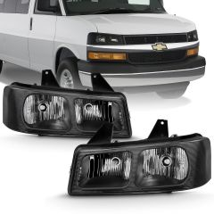 CHEVY EXPRESS/ GMC SAVANA 03-17 CRYSTAL HEADLIGHT BLACK