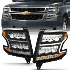 CHEVY TAHOE 15-20 SUBURBAN 15-20 LED HEADLIGHT PLANK STYLE BLACK CLEAR W/SEQUENTIAL AMBER