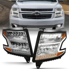 CHEVY TAHOE 15-20 SUBURBAN 15-20 LED HEADLIGHT PLANK STYLE CHROME CLEAR W/ SEQUENTIAL AMBER