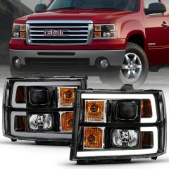 GMC SIERRA 1500 07-13 2500/3500 HD 07-14 1500 Hybrid 07-13 PROJECTOR HEADLIGHT PLANK STYLE BLACK W/ CLEAR LENS AMBER