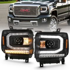 GMC SIERRA 1500 16-19 PROJECTOR HEADLIGHT PLANK STYLE BLACK W/ SEQUENTIAL AMBER SIGNAL (HID Compatible, No HID Kit )