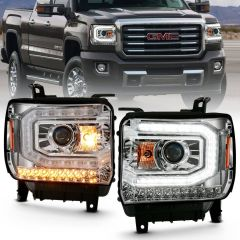GMC SIERRA 1500 16-19 PROJECTOR HEADLIGHT PLANK STYLE CHROME W/ SEQUENTIAL AMBER SIGNAL (HID Compatible, No HID Kit )