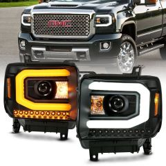GMC SIERRA 1500 14-15 SIERRA 2500 HD/3500HD 15-16 PROJECTOR HEADLIGHT PLANK STYLE BLACK W/ SWITCHBACK  (HALOGEN TYPE)