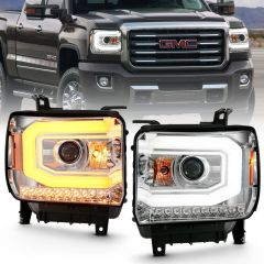 GMC SIERRA 1500 14-15 SIERRA 2500 HD/3500HD 15-16 PROJECTOR HEADLIGHT PLANK STYLE CHROME W/ SWITCHBACK  (HALOGEN TYPE)
