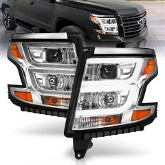 CHEVY TAHOE 15-20 SUBURBAN 15-20 PROJECTOR HEADLIGHTS PLANK STYLE CHROME W/DRL