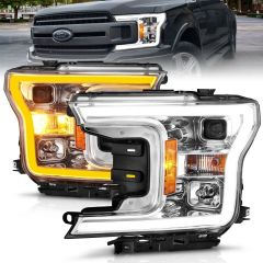 FORD F-150 18-20 PROJECTOR LIGHT BAR STYLE  SWITCHBACK HEADLIGHTS CHROME HOUSING AMBER
