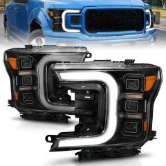 FORD F-150 18-20 FULL LED PROJECTOR LIGHT BAR STYLE HEADLIGHTS BLACK AMBER (SEQUENTIAL SIGNAL) ( FACTORY HALOGEN MODEL ONLY)