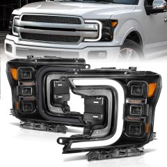 FORD F-150 18-20 FULL LED PROJECTOR HEADLIGHT W/ SMOKE BAR SEQUENTIAL SIGNAL BLACK HOUSING
