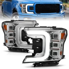 FORD F-150 18-20 FULL LED PROJECTOR LIGHT BAR STYLE HEADLIGHTS CHROME AMBER (SEQUENTIAL SIGNAL) (FACTORY HALOGEN MODEL ONLY)