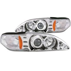 FORD MUSTANG 94-98 1 PC PROJECTOR HEADLIGHTS CHROME w/ HALO