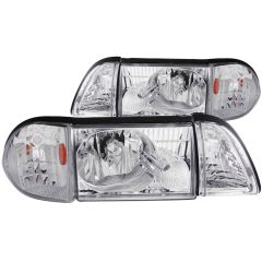 FORD MUSTANG 87-93 CRYSTAL HEADLIGHTS CHROME w/ CORNER & PARKING 3PC