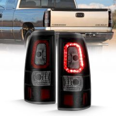 CHEVY SILVERADO 1500/1500 HD/2500/2500HD 99-02 3500 01-03 GMC SIERRA 1500/1500HD/2500/2500HD 99-06 3500 01-06 LED TAILLIGHTS PLANK STYLE  BLACK W/SMOKE LENS