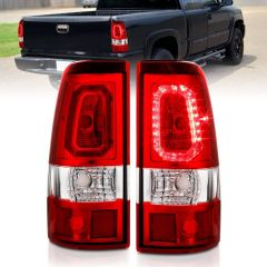 CHEVY SILVERADO 1500/1500 HD/2500/2500HD 99-02 3500 01-03 GMC SIERRA 1500/1500HD/2500/2500HD 99-06 3500 01-06 LED TAILLIGHTS PLANK STYLE CHROME WITH RED/CLEAR LENS