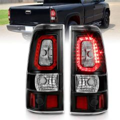 CHEVY SILVERADO 1500/1500HD/2500/2500HD 03-06 3500 04-06 1500/2500/3500 CLASSIC 07 LED TAILLIGHTS PLANK STYLE BLACK W/CLEAR LENS PAIR