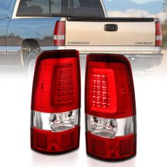 CHEVY SILVERADO 1500/1500HD/2500/2500HD 03-06 3500 04-06 1500/2500/3500 CLASSIC 07 LED TAILLIGHTS PLANK STYLE CHROME WITH RED/CLEAR LENS PAIR