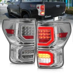 TOYOTA TUNDRA 07-13 LED TAILLIGHTS CHROME HOUSING CLEAR LENS