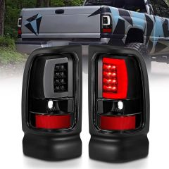 DODGE RAM 1500 94-01 2500/3500 94-02 LED TAILLIGHTS PLANK STYLE  BLACK W/CLEAR LENS