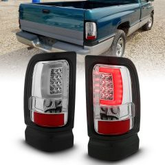 DODGE RAM 1500 94-01 2500/3500 94-02 LED TAILLIGHTS PLANK STYLE CHROME W/ CLEAR LENS