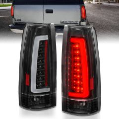 Chevy/GMC C/K 1500/2500/3500 88-99, SUBURBAN/YUKON 92-99, TAHOE 95-00, BLAZER 92-94, CADILLAC ESCALADE 99-00 LED C-BAR TAIL LIGHTS BLACK HOUSING CLEAR LENS