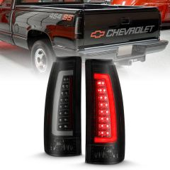 CHEVY/GMC C/K 1500/2500/3500 88-99, SUBURBAN/YUKON 92-99, TAHOE 95-00, BLAZER 92-94, CADILLAC ESCALADE 99-00 LED C-BAR TAIL LIGHTS BLACK HOUSING SMOKE LENS
