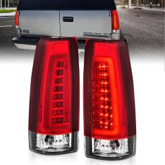 CHEVY/GMC C/K 1500/2500/3500 88-99, SUBURBAN/YUKON 92-99, TAHOE 95-00, BLAZER 92-94, CADILLAC ESCALADE 99-00 LED C-BAR TAIL LIGHTS CHROME HOUSING RED/CLEAR LENS