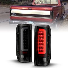 FORD F-150 87-96 F-250/F-350/F-450 SUPERDUTY 87-96 BRONCO 88-96 LED TAILLIGHTS BLACK HOUSING SMOKE LENS