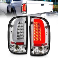 TOYOTA TACOMA 95-00 LED TAILLIGHTS CHROME HOUSING CLEAR LENS