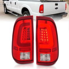 FORD F-250/F-350/F-450/F-550 SUPER DUTY 08-16 LED TAIL LIGHTS CHROME HOUSING RED/CLEAR LENS