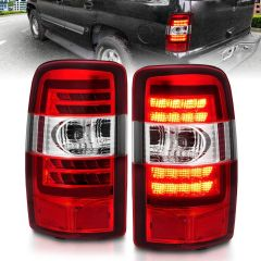 CHEVROLET TAHOE/SUBURBAN/GMC DENALI 00-06 LED TAIL LIGHTS RED/CLEAR LENS CHROME HOUSING