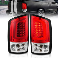 DODGE RAM 1500/2500 02-06 3500 03-06 LED TAIL LIGHTS RED/CLEAR LENS W/ C LIGHT BAR