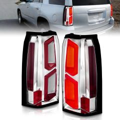 CHEVY TAHOE/SUBURBAN 15-20 LED TAIL LIGHTS ALL CHROME W/ C-LIGHT BAR