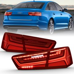 Audi A6/S6 12-15 LED TAILLIGHT BLACK HOUSING RED/CLEAR LENS 4 PCS (SEQUENTIAL SIGNAL)