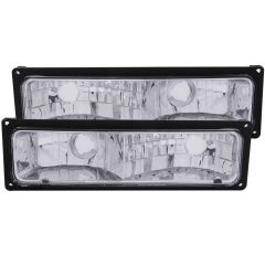 CHEVY/GMC C/K1500/2500 88-98 / C/K3500 88-00 / SUBURBAN 92-99 / BLAZER (full-size) 92-94 / TAHOE 95-99 / YUKON 92-99 EURO PARKING/SIGNAL LIGHTS CHROME w/ BLACK FRAME CLEAR LENS